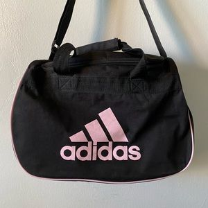 ADIDAS Large Black and Pink Lettering Duffle Bag Gym Travel